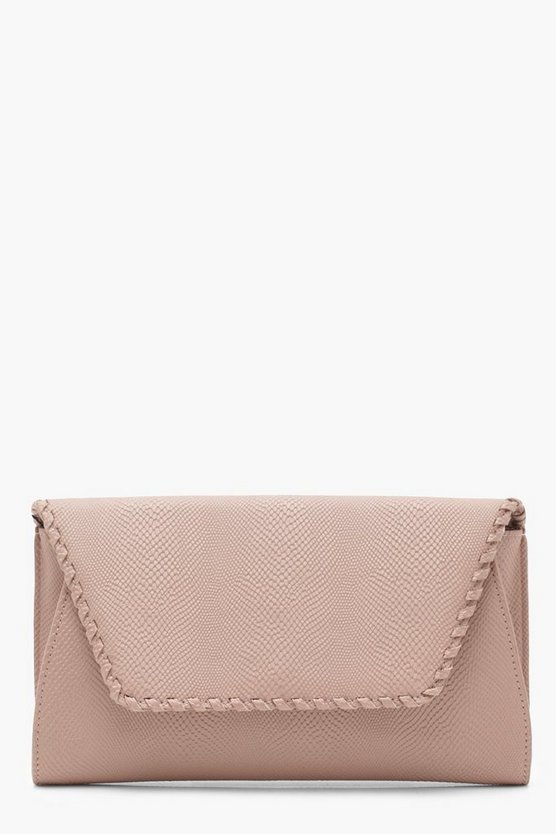 Snake & Whipstitch Clutch With Chain