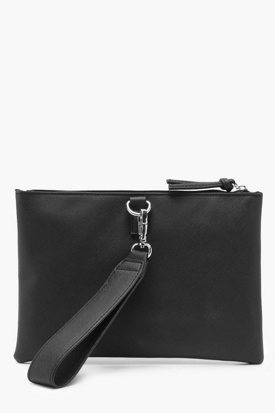 Kerry Wide Wrist Strap Crosshatch Clutch