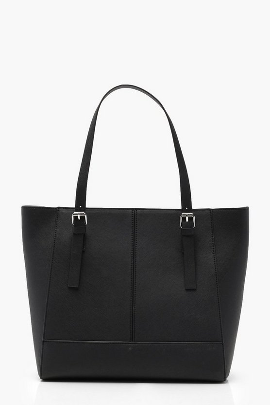 Double Buckle Crosshatch Tote