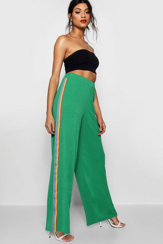 Contrast Stripe Wide Leg Crepe Trousers