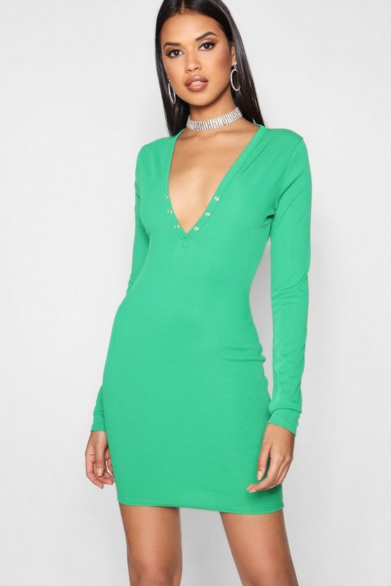Lisa Popper Detail Ribbed Bodycon Dress