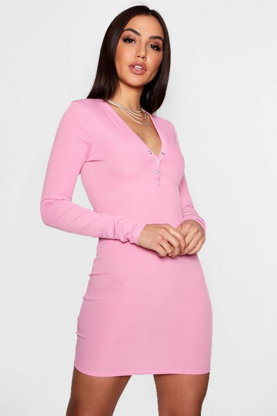 Popper Detail Ribbed Bodycon Dress