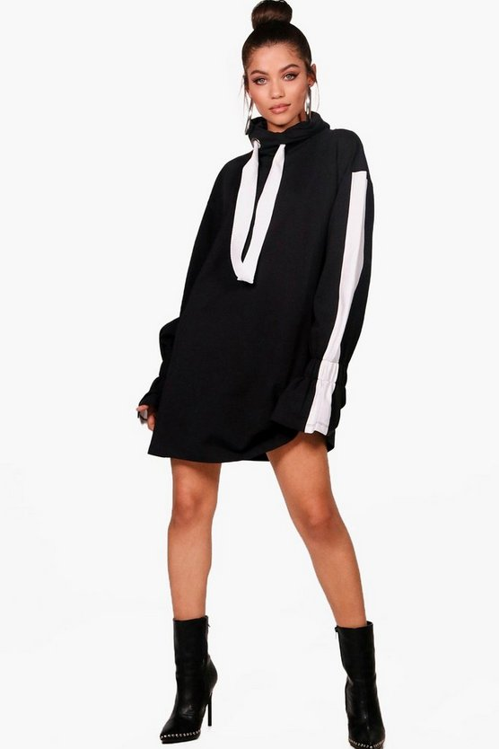 Mara Sports Stripe Flared Sleeve Hooded Sweat Dress