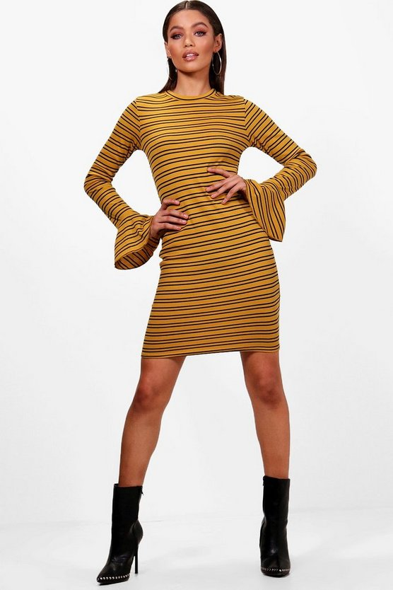 Nat Stripe Ribbed Flute Sleeve Bodycon Dress