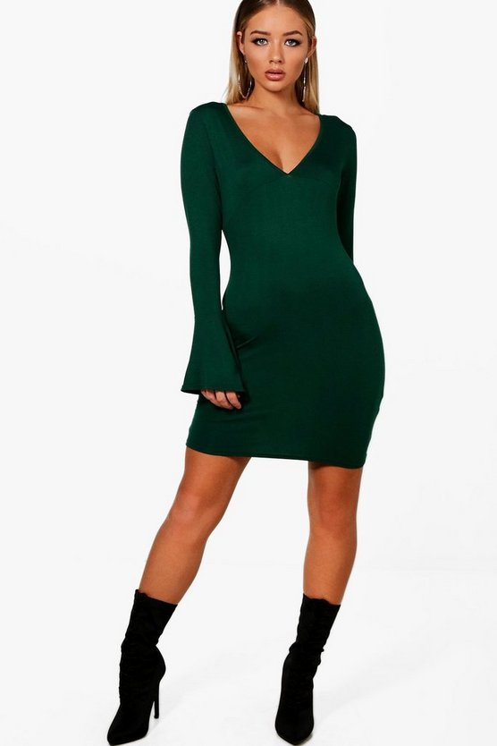 Nia Micro Mini Plunge Flute Sleeve Bodycon Dress