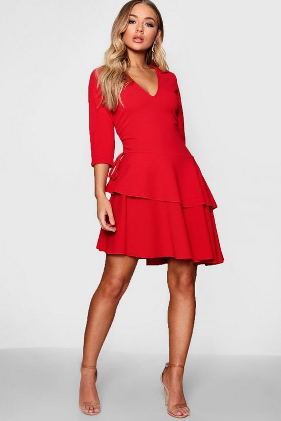 Avril V Neck Triple Frill Rouched Shift Dress