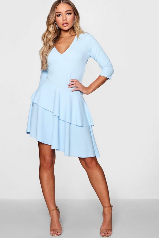 V Neck Triple Frill Rouched Shift Dress