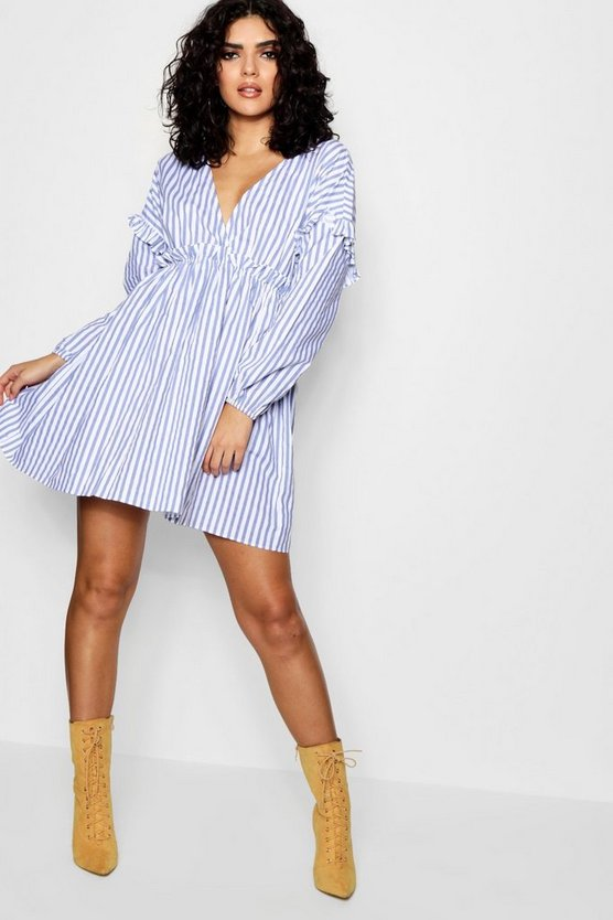 Lorelai Stripe Ruffle Waist Cotton Dress