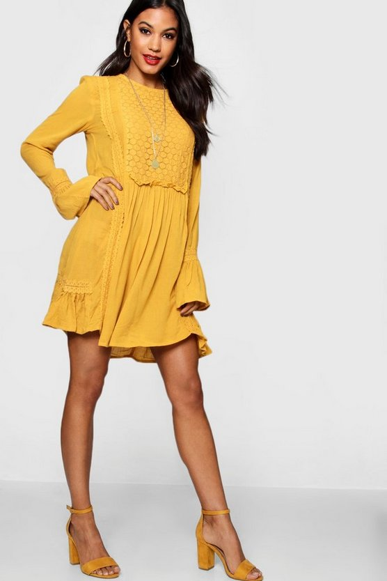 Lace Insert Flute Sleeve Smock Dress