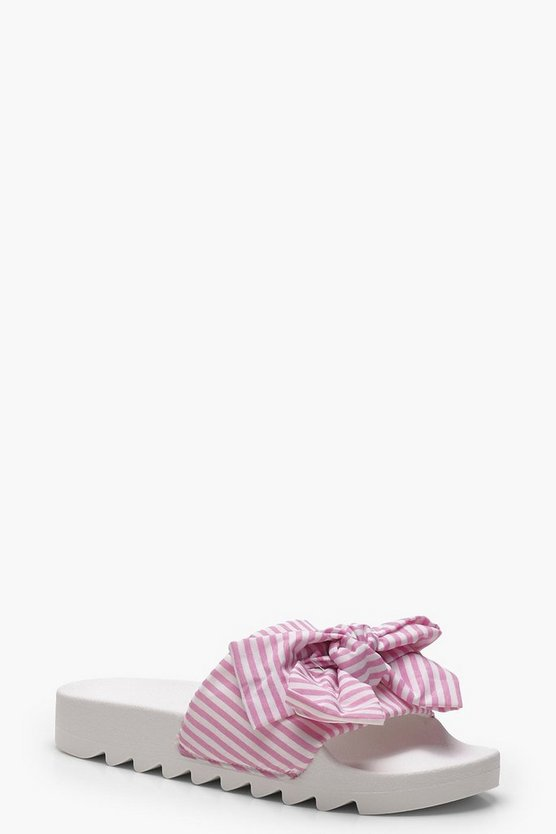 Rose Striped & Bow Detail Sliders