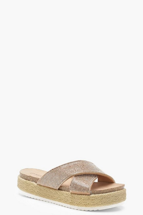 Amy Diamante Cross Strap Flatform Sliders