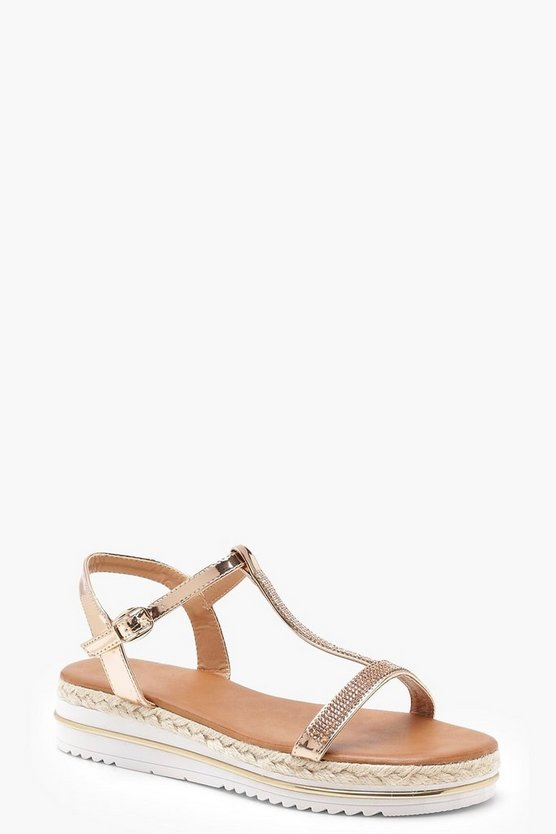 Diamante T Bar Cleated Sandals