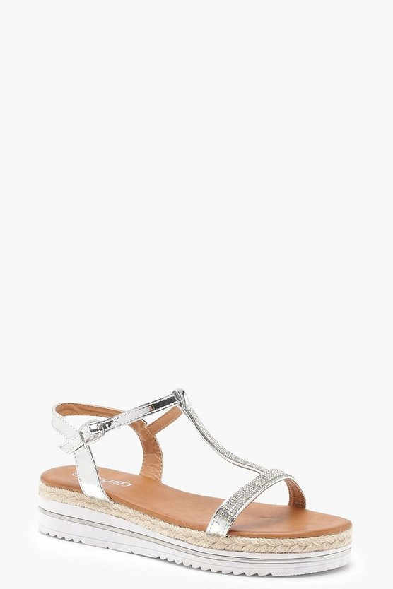 Grace Diamante T Bar Cleated Sandals