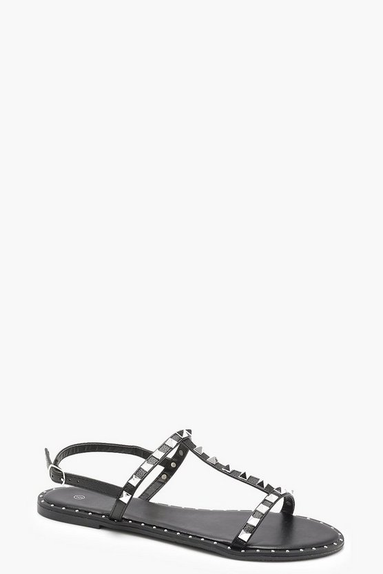 Studded T Bar Slingback Sandals