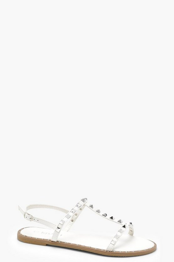 Poppy Studded T Bar Slingback Sandals