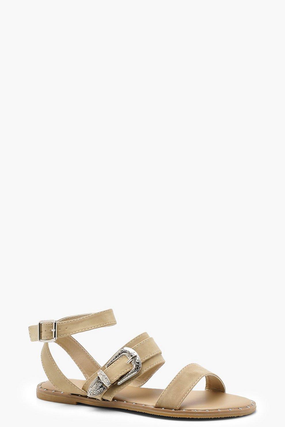 Sandali con fibbia e borchie a punta spillo Suministro De Precio Barato WRJoaH