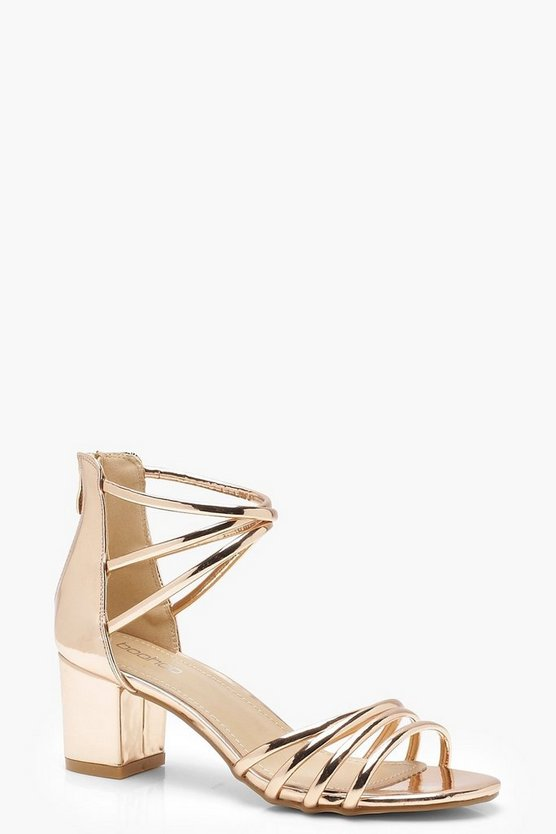 Metallic Strappy Low Block Heels