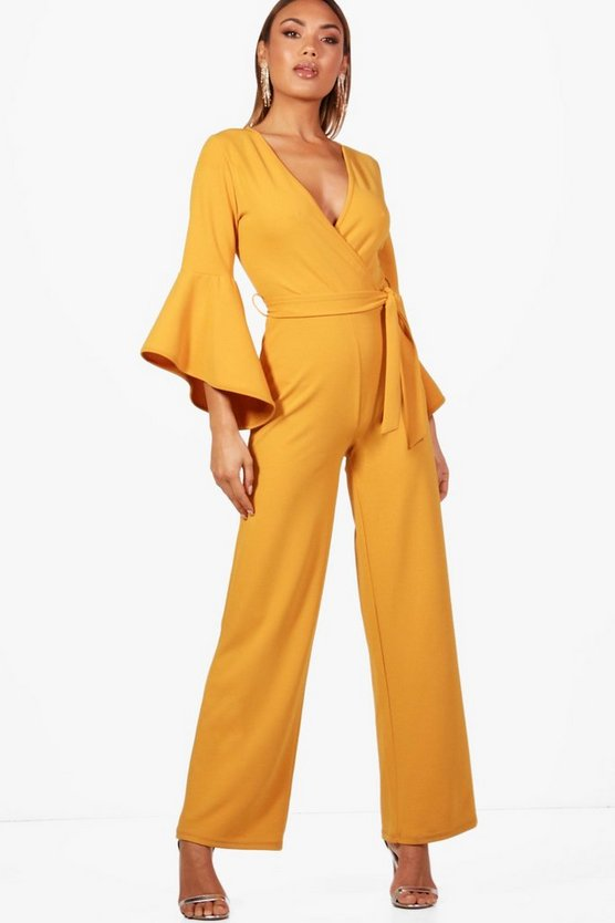 Flare Sleeve Wrapover Jumpsuit