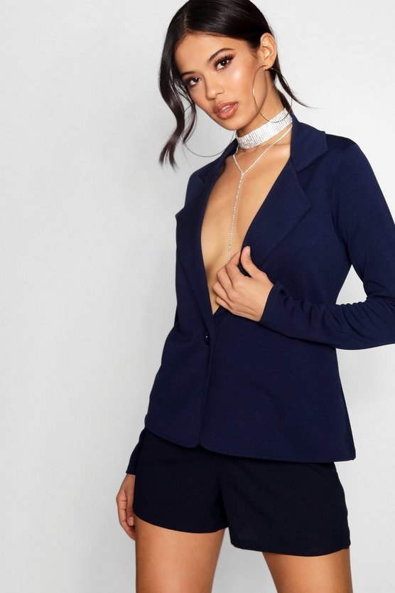 Bella Button Front Basic Blazer