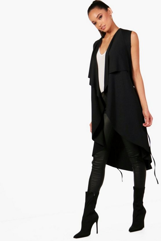 Naomi Sleeveless Waterfall Duster