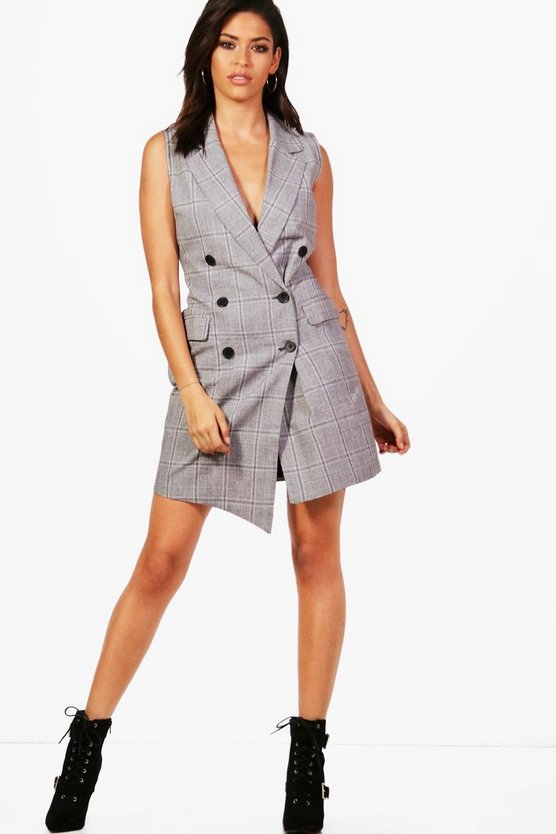 Check Double Breasted Blazer Dress