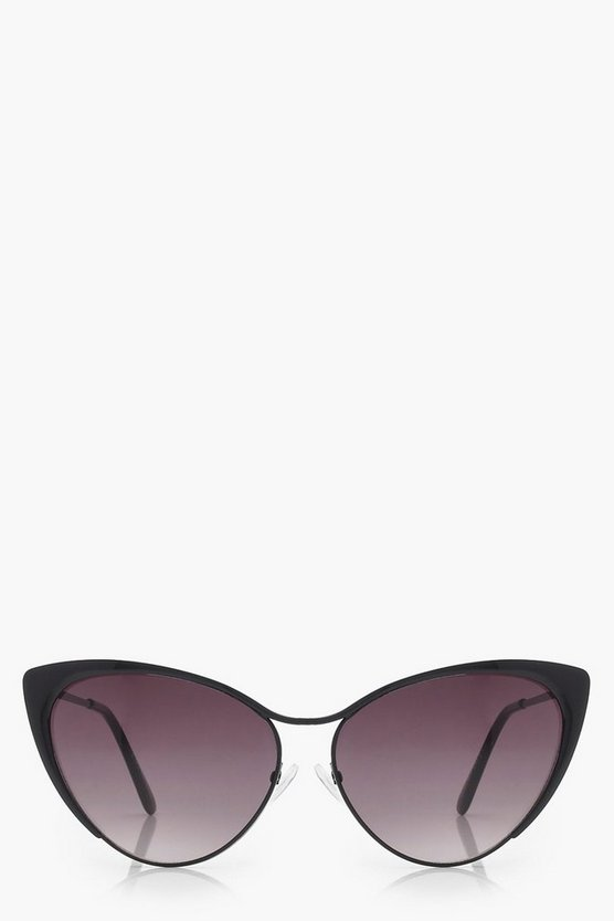 Ivy Black Metal Cat Eye Sunglasses