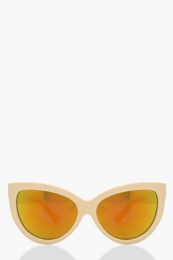 Amy Reflective Lense Oversize Cat Eye Sunglasses