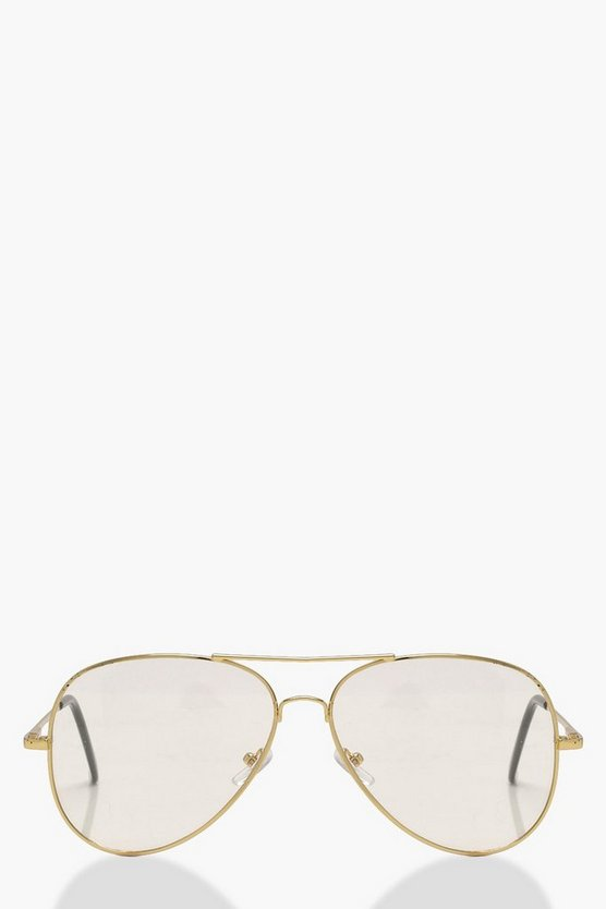Laura Gold Frame Clear Lense Aviators