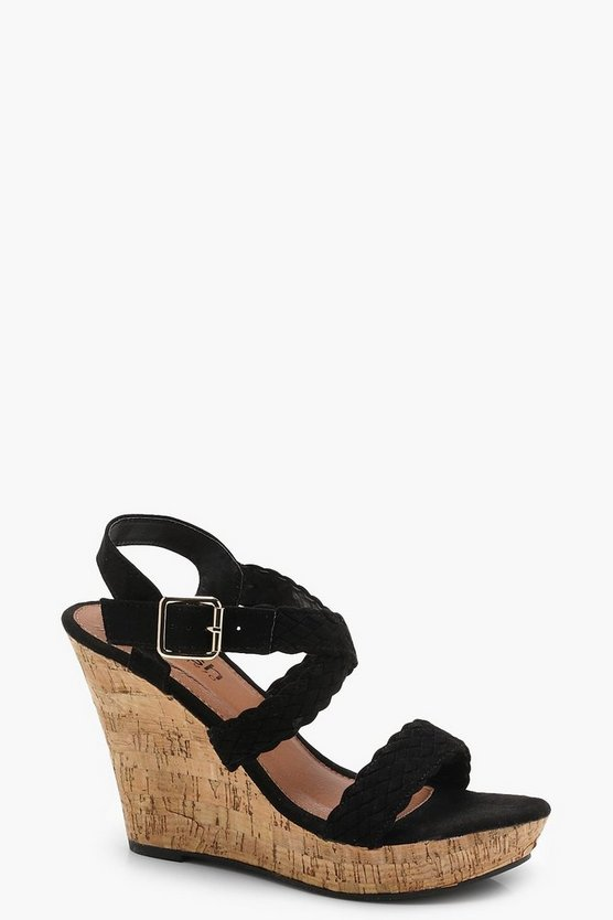 Lacey Plaited Cross Strap Wedges
