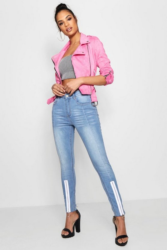 Seam Front Exposed Zip Straight Leg Jeans