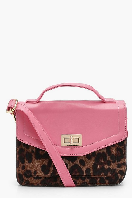 Yasmin Contrast PU And Leopard Cross Body Bag