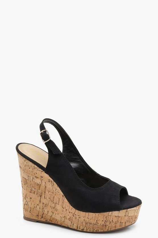 Ellie Cork Sling Back Peeptoe Wedges