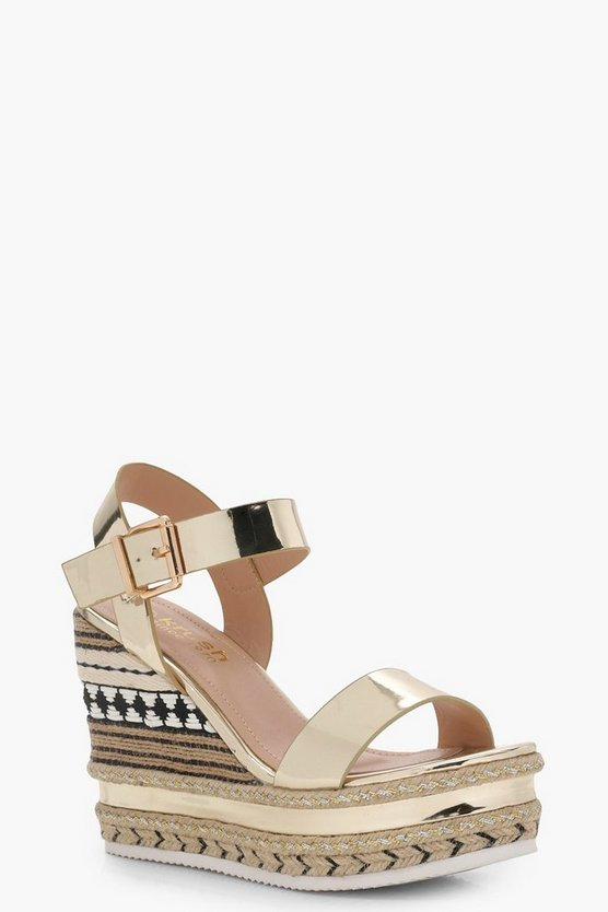 Woven Detail Espadrille Wedges