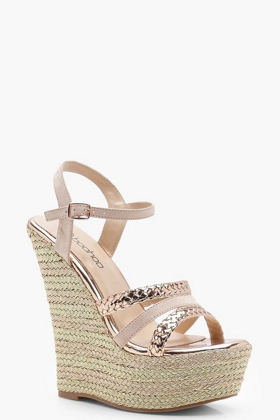 Rebecca Striped Plait Strap Wedges