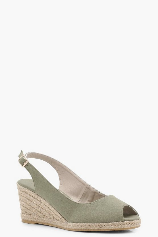 Holly Peeptoe Mid Sling Back Espadrille Wedges