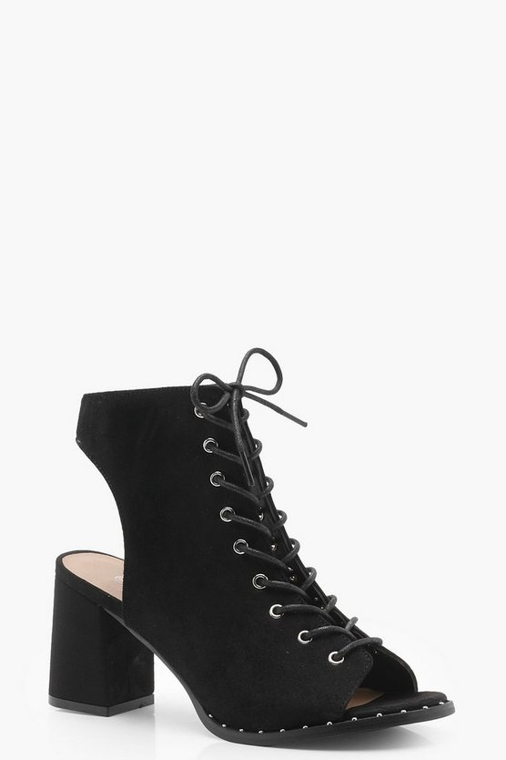 Caroline Lace Up Studded Trim Shoe Boots