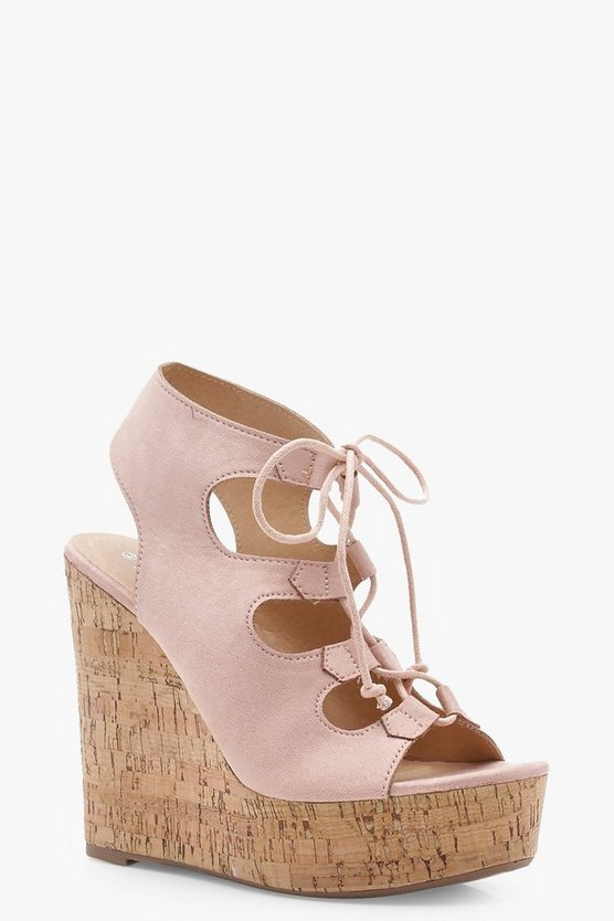 Lexi Extreme Cork Lace Up Wedges