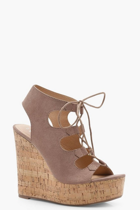 Scarlett Extreme Cork Lace Up Wedges