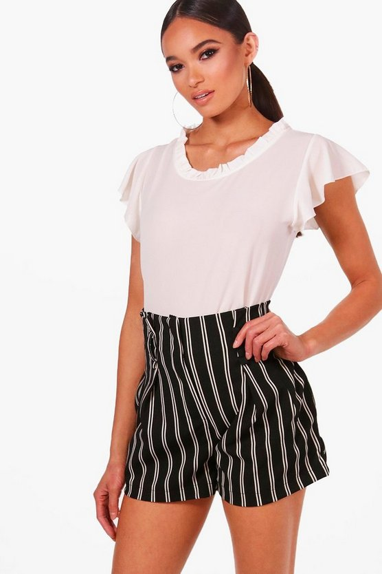 Zoey Ruffle Collar Woven Short Sleeved Top