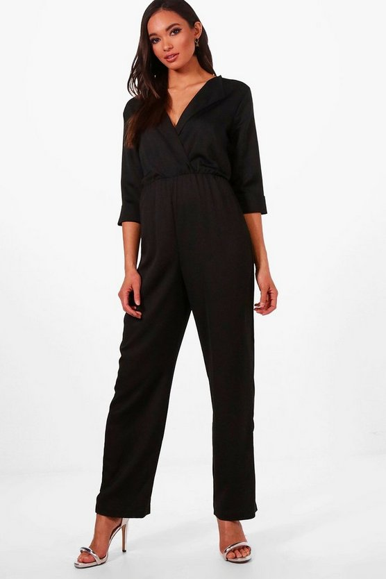 Claire Collared Satin Jumpsuit