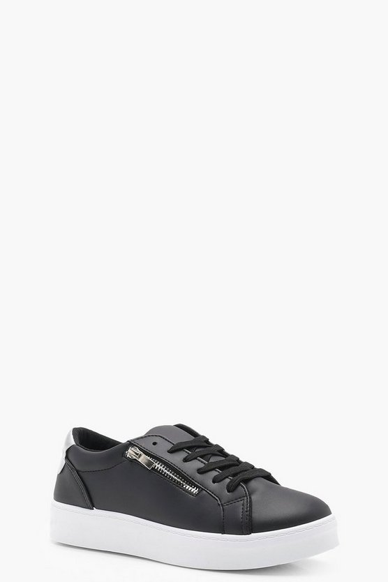 Zip Slide Lace Up Platform Trainers