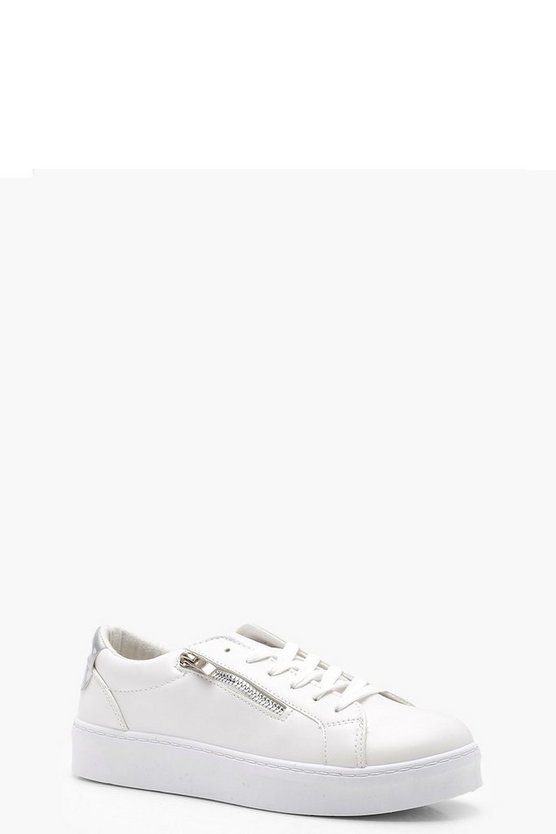 Jessica Zip Slide Lace Up Platform Trainers