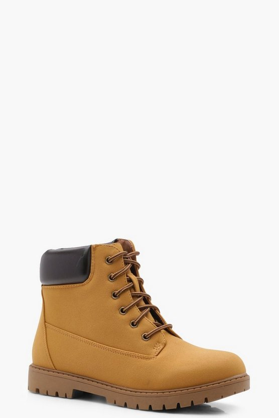 Poppy Padded Cuff Lace Up Hiker Boots