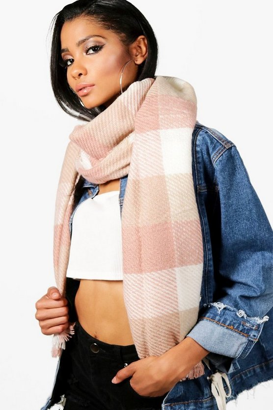 Hannah Checked Brushed Blanket Scarf