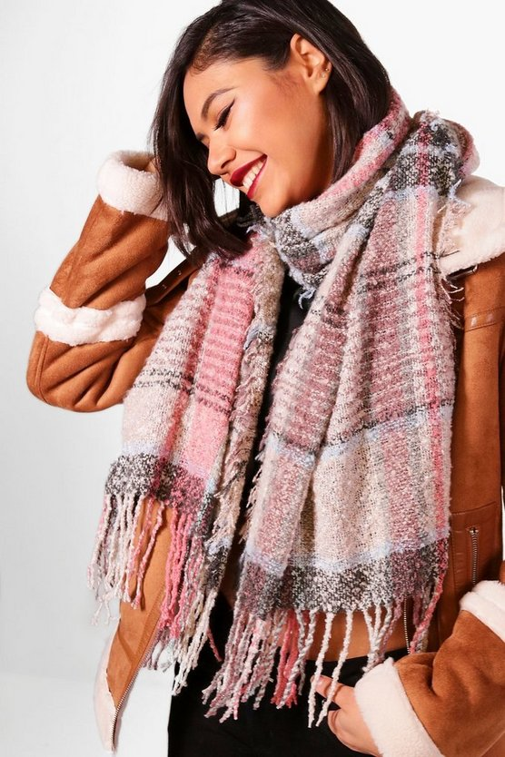 Emily Check Boucle Tassel Scarf