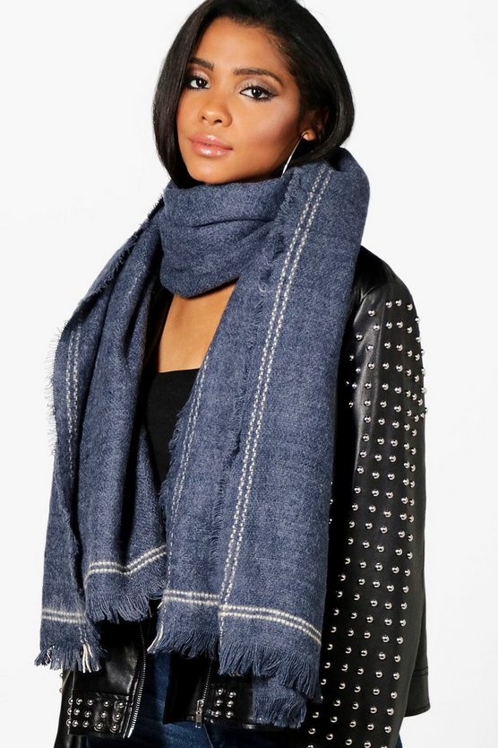 Laura Stripe Edge Oversized Scarf