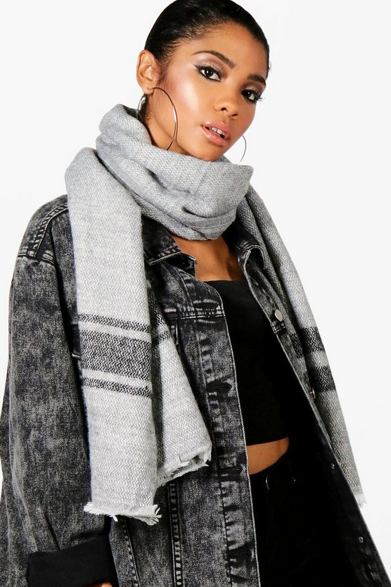 Kirsten Triple Stripe Edge Oversized Scarf