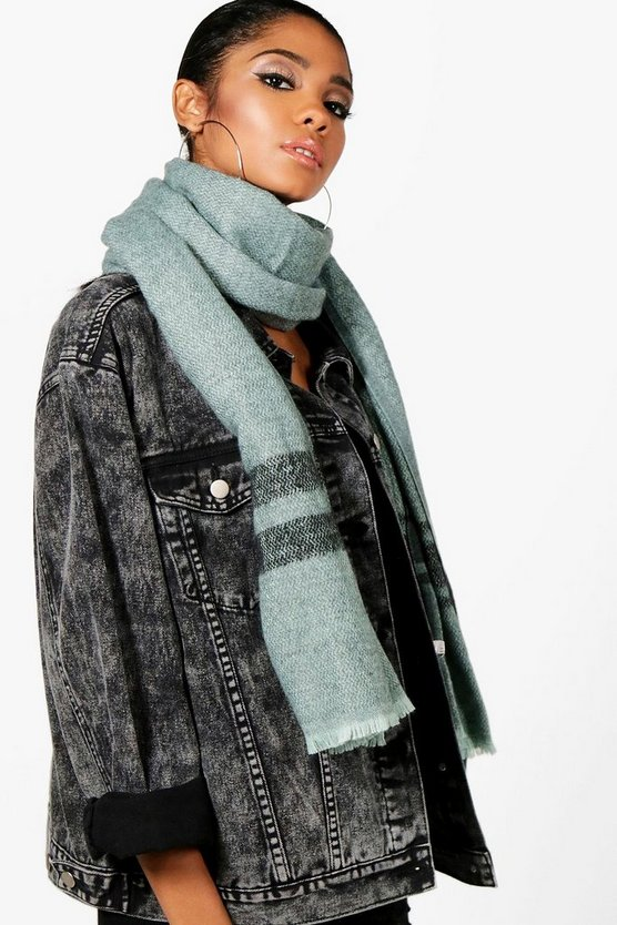 Triple Stripe Edge Oversized Scarf
