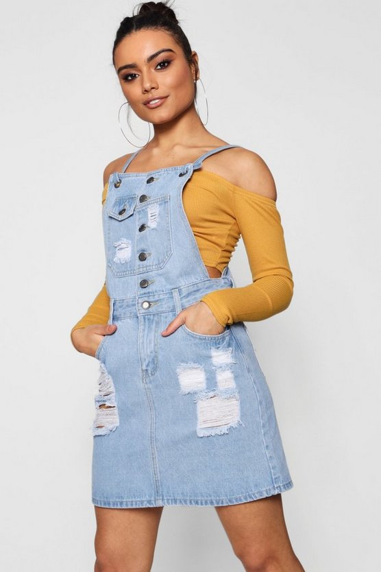 Tia Eyelet Detail Denim Pinafore Dress