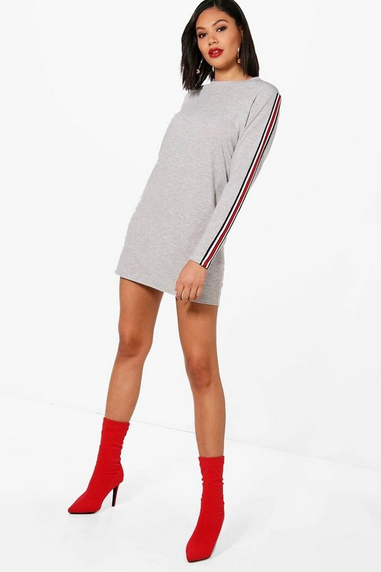 Sports Stripe Sleeve Sweat Dress